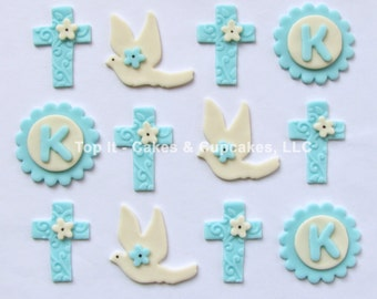 Fondant Cupcake Toppers - Crosses, Doves & Initial