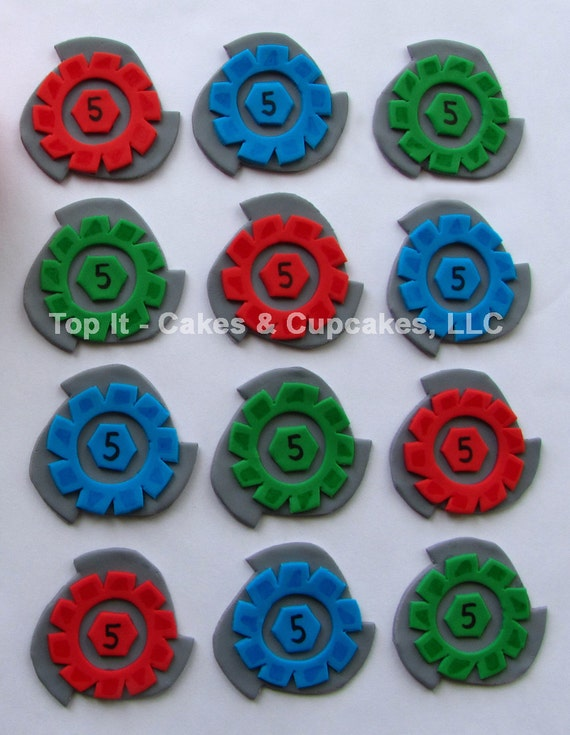 Fondant cupcake toppers beyblade for Anime beyblade cake topper decoration set