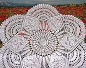 Large crochet doily White handmade crochet doily Large lace doily Crocheted doilies Living room decor elements Crochet tablecloth