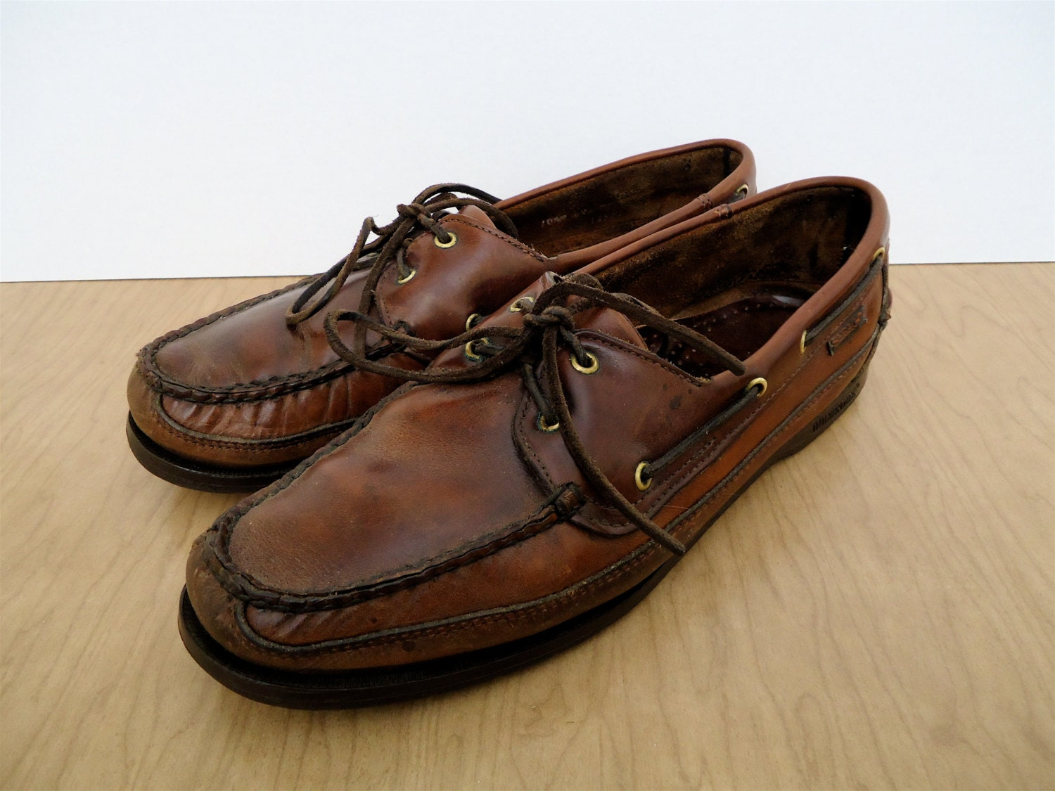 Sebago Boat Shoes / preppy brown leather moccasins / vintage