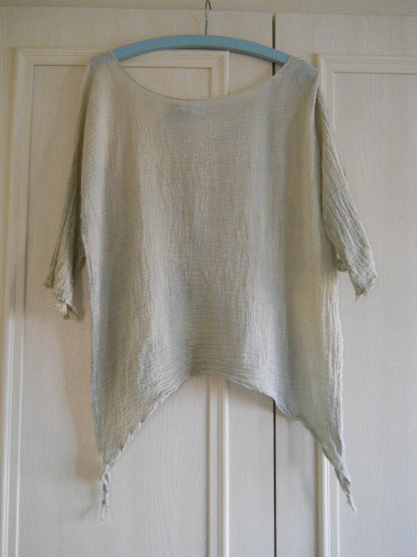 RITANOTIARA asymmetric shirt top tank curve hem lagenlook plus