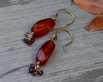 Carnelian Earrings,  Clearance, Bronze Earrings, Oxidized Bronze, Amethyst, Garnet, Stone Jewelry, Wire Wrapped Jewelry, Orange Jewelry