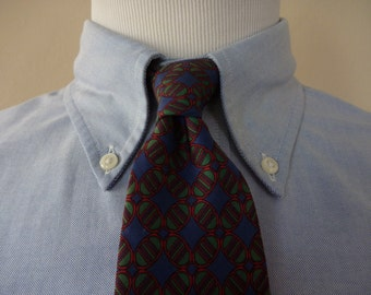 Vintage 1960s / 1970s Brooks Brothers MAKERS All Silk Green & Red Geometric Designs on Navy Blue Trad / Ivy League Neck Tie.  Made in USA.