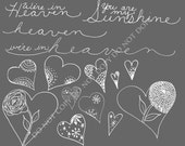 Word art and hearts Photoshop Brushes/ Overlays for Photographers / Clip Art / Digital Stamps / Digital Scrapbooking