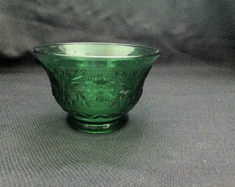 Vintage Anchor Hocking Forest Green Sandwich Glass Custard Cup