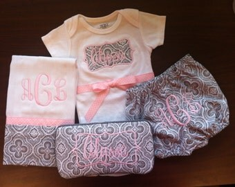Monogrammed Baby Gift Set (Includes monogrammed one-piece, burp cloth, baby wipe case and matching monogrammed bloomers.