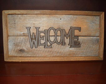 Welcome Sign. Barn wood sign, Wall hanging, Rustic sign, Primitive sign