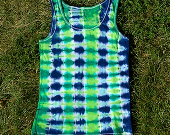 Blue and Green Tie-Dyed Ribbed Tank Top for Women