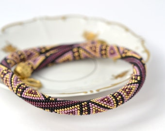 Violet  Luxury plum  Bead Crochet Necklace  Lilac Black  24K Gold  Pink  Geometric Modern  Beadwork  Geometric Jewelry Made to order