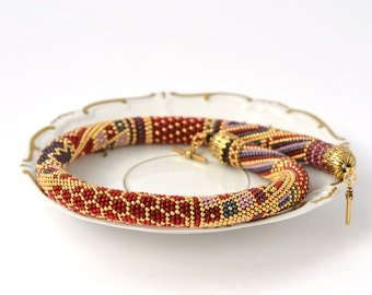 Vinyard - Bead Crochet Necklace  Beaded Necklaces Red Grey  24K Gold  Pink  Geometric Modern  Beadwork Jewelry  Multicolors Luxury