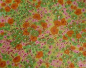 vintage 1960s cotton flannel fabric floral orange pink green yellow