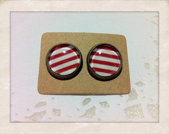 12mm Glass Red and White Stripes Vintage Style Earrings