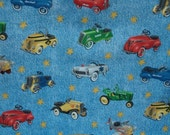 Cotton Fabric Vintage Toy Cars Tractors Fire Trucks Airplanes on Light Denim Blue Sold by the Yard