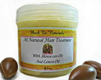 Black Hair Care - Natural Hair Conditioner - Hair Treatment with Organic Argan and Shea Butter  -  Hair Moisturizer With Lemon Oil