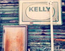 Vintage Sign Print, Kelly, rustic, retro, grunge, aqua, square, soft pastels, shabby chic, Irish, teal, mint, fPOE, rusty, pink, dreamy