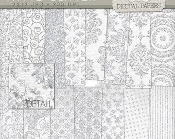 White Glitter Digital Papers, Wedding Digital Paper, Baptism Digital Paper Pack - Instant Download