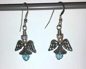 Blue Swarovski Angel Earrings