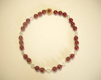 """Vintage 22"""" CRYSTAL & MAROON BEADED Necklace (6113) Gorgeous and colorful"""