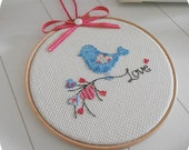 Lovable cross stitched blue bird framed in 7 inch (18cm) hoop. Ideal for Valentine's gift, anniversary and romantic home decor