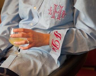 Monogrammed Oxford - Blue Bride's  Shirt - Bride's Wedding Day Shirt
