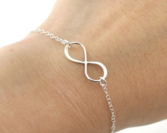 Sterling Silver infinity Bracelet, everyday Bracelet, infinity jewelry, everlasting lover, enternity, gift for BFF, sterling silver