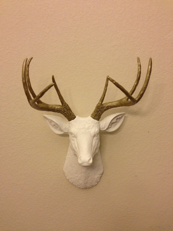 Items Similar To Faux Deer Head Gold Hunting Trophy With