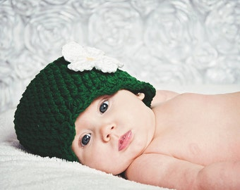 Baby Girl Hat 0 to 3 Month Emerald Green Baby Hat Baby Girl Clothes Spring Photo Prop Photography Prop Flapper Beanie Flapper Hat Flower Hat