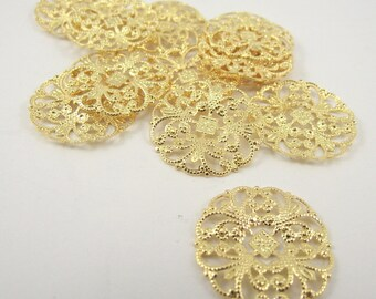 Gold Plated Filigree Rounds, 22mm, 24 Pieces