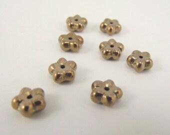 Preciosa Czech Glass Beads, Flower Rondelle, Light Bronze, 7 x 3 mm, 8 Inch Strand
