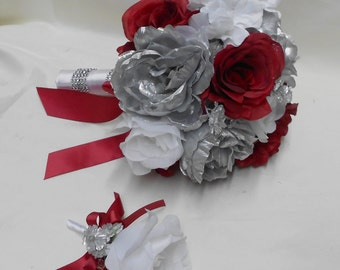 Wedding Bridal Bouquet Your Colors 2 piece Silver Peonies White Apple Red Rose white Hydrangea with Boutonniere Centerpiece FREE SHIPPING