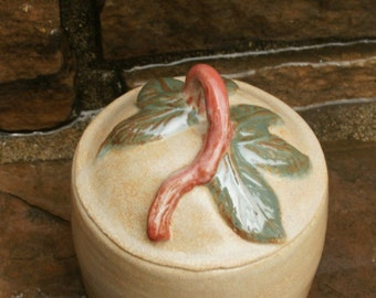Handmade Ceramic Lidded Jar, Handmade Pottery Lidded Jar, Golden Rust Brown Green, Leaves, hand thrown stoneware pottery, canister, urn,