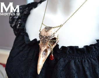 Animal-friendly WarriorCrow crow skull necklace pendant with glass ruby crystal Mortiis.M