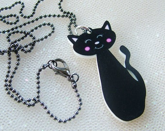 Black Cat Acrylic Necklace - Kawaii Halloween Jewelry
