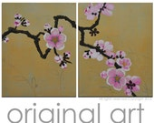 """Japanese Cherry Blossom Original Abstract Painting Acrylic  Flowering Tree on Canvas  Wall Art 20""""x32"""" FREE SHIPPING"""