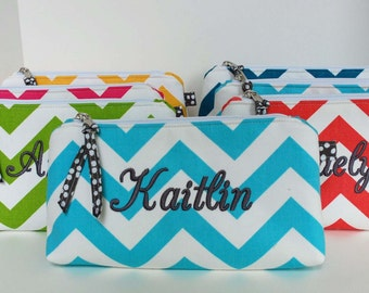 Design your own Chevron monogrammed makeup bag,  personalized bag, Bridesmaid gift, cosmetic bag, wedding party gift