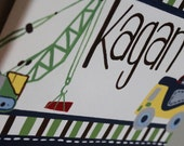Personalized Busy Builder Construction Name Sign for Nurseries, Bedrooms, Playrooms and More