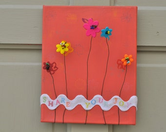 Simply ADORNable Share Your Joy painted canvas with flower accents and beading