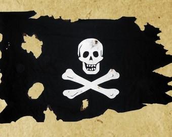 3' X 5' Pirate Flag: Battle-Worn Canvas Jolly Roger