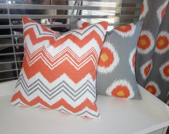 Grey and orange Pillow covers