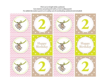 Monkey Theme Cupcake Toppers/Tags