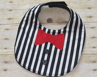 Baby's Night Out  Bow Tie on Black and White Stripe Tuxedo Baby Bib