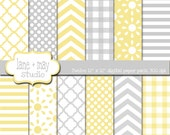 digital scrapbook papers - you are my sunshine gray and yellow patterns - INSTANT DOWNLOAD
