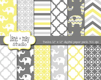 digital papers - elephant theme, yellow and gray patterns - INSTANT DOWNLOAD