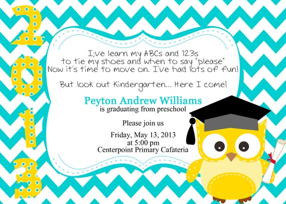 Preschool/Kindergarten Graduation Invitation by ...