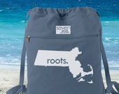 Massachusetts MA Roots Canvas Backpack Cinch Sack