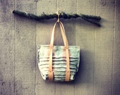 raw woven linen // hand painted // functional large tote // large wall pockets // organic canvas lining // copper rivets - ardenandjames