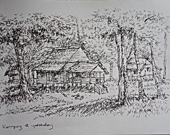 Original Sketch, Nature Sketch, Certified Original Sketch, Ink on Paper  Sketch, Unframed Impressionist Sketch, Art Investment