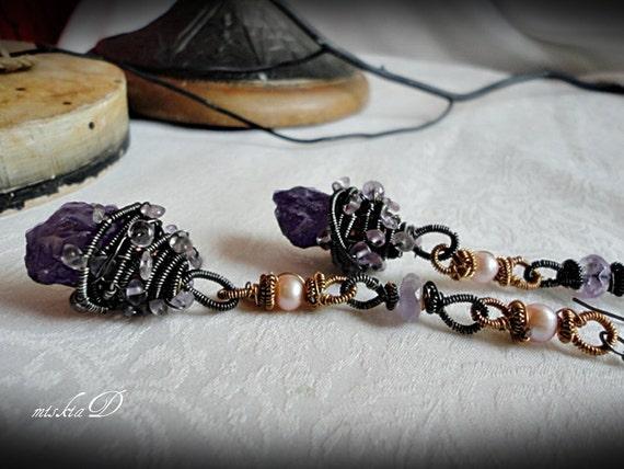 Iolite Dangle Earrings, Iolite Long Earrings, Wire Wrapped Iolite Earrings, Pearl Long Earrings, Rough Gemstone Earrings