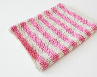 Knitted ipad case, striped ipad case, pink knit ipad cover