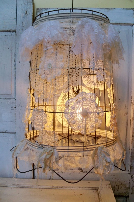 On Reserve till Sat. Large ceiling fixture swag style re-purposed wire basket hanging lamp shabby chic recycled lighting  Anita Spero